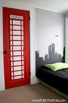 How cute is this? For this boy's superhero room, the closet door was painted to look like a phone booth! Bat signal over Gotham City behind bed :) #decor #bedrooms #home    this is cute but I think the room should stay with one superhero theme, not superman and also batman.