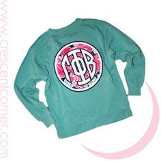 Crescent Corner- Gamma Phi Beta Custom Apparel for Group Orders. Monogrammed Sweatshirt!
