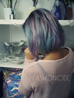 Smoked Out Moonstone hair using Pravana. List of colours used: Locked In Silver, Locked In Purple, Locked In Pink, Locked In Teal and Pastel Blissful Blue.  Blogged on the technique I used to create the smoked out hair! http://www.fashionicide.com/2016/01/diy-how-to-smokey-pastel-moonstone-hair.html