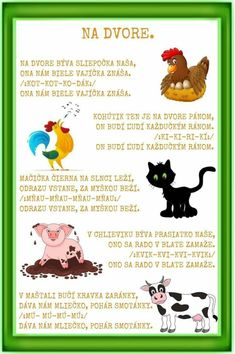 Farm Animals, Animals And Pets, Kids Corner, Kids And Parenting, Activities For Kids, Fairy Tales, Diy And Crafts, Kindergarten, Poems