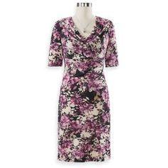 Draped-Neck Floral Dress
