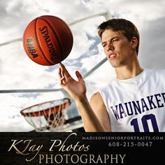 He has loved the game since little on.  High School Senior Pictures, Basketball.  Unique lighting techniques were used in this basketball portrait session.  K Jay Photos Photography, Madison WI.  www.kjayportraits.com