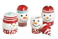 """SNOWMAN snowflake Christmas Ceramic Treat Jars Set of 4 by Midwest. $79.99. """"Snowman Jars""""Adorable assortment of four different ceramic jars with lids. Cute Snowman with snowflakes along the bottom,  Ceramic  , all hand painted - Dishwasher safe, can be used for Candy, snacks, or fill with a special treat and wrap up as a gift.Jars vary slightly in size, largest is 6.5"""" tall x 5.5"""" wide."""