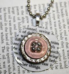 Mod Podge DImensional Magic book page button necklace