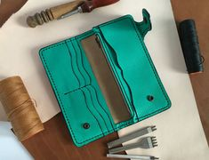 Long leather wallet card holder with coin pocket Mint green purse Women wallet leather Green leather clutch purse St patrick day green gift