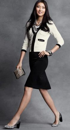 Career Fashion - Black & White - Ann Taylor Women wearing black and white skirt suit. Office Fashion, Work Fashion, Fashion Outfits, Fashion Black, Business Outfits Women, Business Fashion, Business Clothes, Business Style, Business Attire