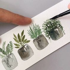 schminckeofficial silverbrushltd artbyzafikha tutorial potted plants velvet paint brush black round paper 4 Tutorial Potted plants Paint schminckeofficial Brush silverbrushltd Black Velvet RYou can find Watercolor art and more on our website Plant Painting, Plant Art, Uk Plant, Watercolor Plants, Watercolour Painting, Watercolor Landscape, Simple Watercolor, Tattoo Watercolor, Watercolor Leaves
