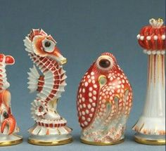 Beautiful  ceramic sea creatures chessmen