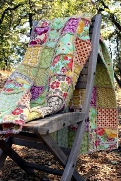 Quilts or fun color blankets are great for layering with solid, fine linen for a boho look!