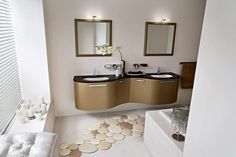 http://emfurn.com   Fancy Bathroom Decorating Ideas With Curved Floating Vanities Sink And Twin Mirrors Featuring White Bathtub And Charming Carpet of Beautiful Bathroom Interior Design Ideas Bathroom Ideas Photo Gallery Bathroom Accessories Bathroom Pictures ☺. ☺ ☺