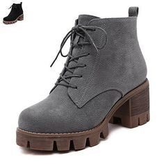 New Women Chunky Heel Booties Cleated Sole Ankle Boots Lace Up Casual Shoes