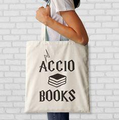 6304425fd9 Accio books quote tote bag-Accio books bag-Harry by naturapicta