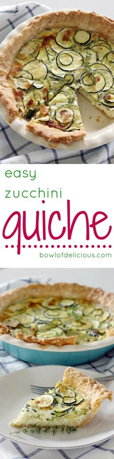 With only six ingredients and about 5 minutes of prep, this quiche is the ultimate easy (and GORGEOUS!) meal for breakfast, lunch, or dinner! Zucchini Bread Recipes, Quiche Recipes, Real Food Recipes, Vegetarian Recipes, Vegetable Recipes, Drink Recipes, Yummy Food, Easy Casserole Dishes, Easy To Make Breakfast
