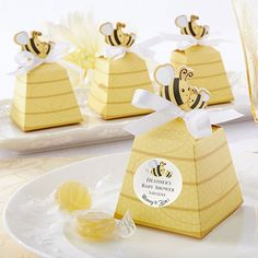 """Sweet as Can Bee"" Personalized Beehive Favor Boxes by Beau-coup"