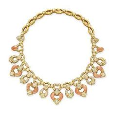 CORAL, DIAMOND AND GOLD NECKLACE   Jewelry Auction /Elizabeth Taylor's