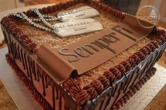 Forever After Cakes - German Chocolate Semper Fi Groom's Cake with Dog Tags
