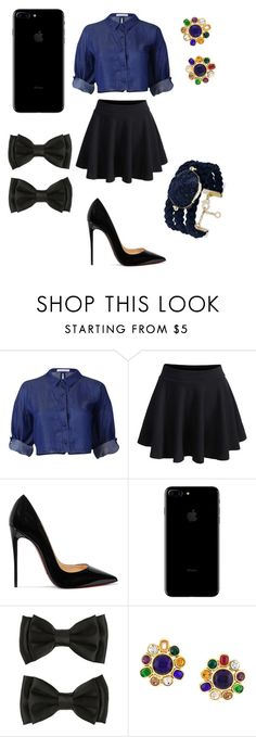"""blue black strict set"" by evagelialove on Polyvore featuring WithChic, Christian Louboutin, Chanel and INC International Concepts"