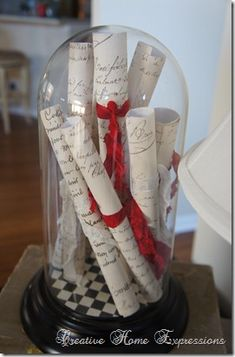 love letters, love songs sheet music, red ribbon and lace in a bell jar.... Happy Valentine's day bell jar!