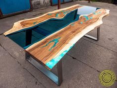 Live edge river glass dining table with bench and glowing image 6 Coffee Table To Dining Table, Glass Dining Table, A Table, Art And Craft, Art Diy, Live Edge Table, Resin Table, Etsy Christmas, Wood Creations
