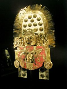 One of the many objects discovered during excavation of the intact tomb of the Lord of Sipan. Gold Mask, Moche, Northern Peruvian Coast, 300 CE.