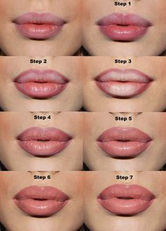 Make lips appear fuller with lip liner and concealer.Use a lip liner one shade deeper than your natural color to line just outside of your lips. Fill the center with concealer, then apply lipstick on top, then lip gloss. Beauty Makeup Tips, Diy Makeup, Beauty Make Up, Beauty Secrets, Beauty Hacks, Makeup Hacks, Makeup Tutorials, Makeup Ideas, Hair Beauty
