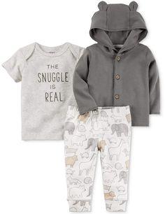 Carter's 3-Pc. Cotton Hoodie, Snuggle T-Shirt & Jogger Pants Set, Baby Boys & Girls