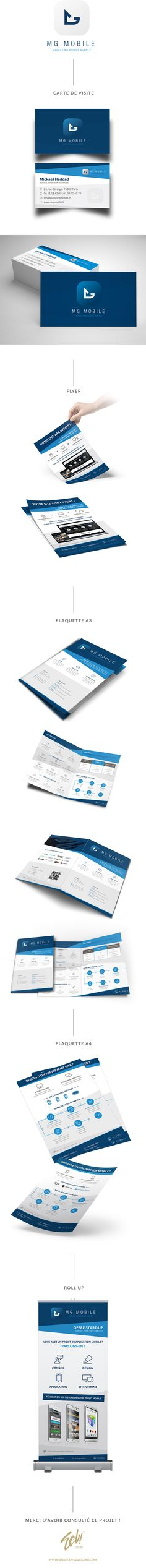 Refonte de la charte graphique et de divers éléments de papeterie de l'entreprise MG Mobile pour un salon. Je leur ai refait les cartes de visite, flyers, plaquette, dépliant et kakémono.  http://www.sebastien-galdeano.com/portfolio/3-Print/44-Depliant/466-MG_Mobile_Salon.html