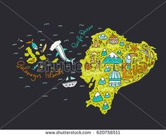 Cartoon map of Ecuador and Galapagos Islands - hand drawn illustration with all main symbols. Illustration for Shutterstock.