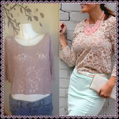 Lace H&M top Mauve hi-low lace top with sheer back. Very romantic and flirty. Good condition. Gently worn. 100% polyester. ✂️Measurements provided in photos along with size chart. Make an offer loves or use the bundle feature for 30% off with the purchase of 3 items or more.  H&M Tops Crop Tops