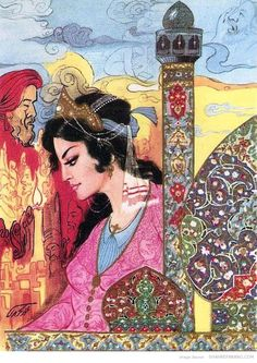 The painter and Illustrator Mohammad Tajvidi was born in 1925. After completing his studies at the School of National Arts, he took the position of assistant professor at the school. He was promoted to a senior professorship continued teaching until 1963. Later he started making illustrations for hundreds of books. He died in Tehran in 1995 at the age of 70.