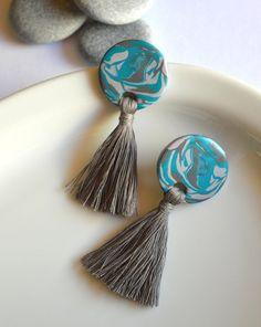 Turquoise gray tassel earrings Round big stud earrings