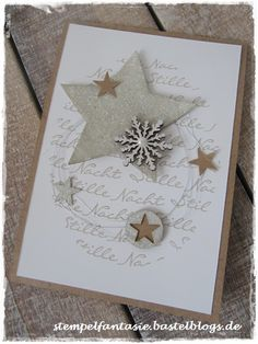 Christmas card in natural tones and glitter - Stampin'Up! Cas Christmas Cards, Christmas Card Crafts, Stampin Up Christmas, Noel Christmas, Holiday Cards, Christmas Glitter, Card Making Inspiration, Christmas Inspiration, Scrapbook Cards