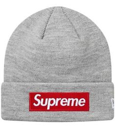 Extra Off Coupon So Cheap Supreme x New Era Box Logo Beanie Gray World  Famous Grey Winter Hat fd668a0b8532