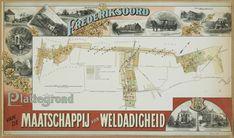 Plattegrond Maatschappij van Weldadigheid in de tweede helft van de 19e eeuw: Willemsoord, Frederiksoord, Wilhelminaoord en kolonie VII