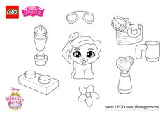 Print this colouring in sheet with LEGO Disney Whisker Haven Palace Pets' cutie Treasure! More fun activities on LEGO.com/disneyprincess #LEGO #Disney #PalacePets