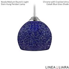 Nicola MEDIUM Round Stem Hung Pendant Lamp with Crackled Glass Shade-- Cobalt Blue by Linea di Liara ✦ Uses 1 Medium Base (E26) Bulb - 100W Max (Not Included) ✦ http://lineadiliara.com/collections/pendant/products/nicola-medium-pendant #Lighting