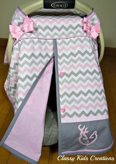 Pink and Gray Chevron Car Seat Canopy with or without Deer Family /Baby Carseat Cover/ Infant Carseat Canopy Cover Grey Chevron, Pink Grey, Gray, Girls Canopy, Baby Doll Nursery, Sick Baby, Booster Car Seat, Deer Family, Canopy Cover