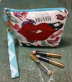 LipSense distributors wristlet bag, purse, pouch, case, high heals, sparking red lips holds  26 lipsticks and additional supplies by jewellgem on Etsy