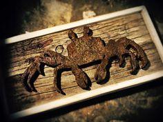 Crab metal rust drift wood art handmade