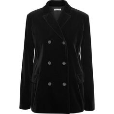 Tomas Maier Double-breasted velvet blazer ($1,090) ❤ liked on Polyvore featuring outerwear, jackets, blazers, black, velvet jacket, tomas maier, blazer jacket, double breasted blazer and velvet blazer