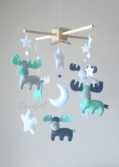 Baby Mobile  Nursery Mobile  Aqua and Gray by GiseleBlakerDesigns