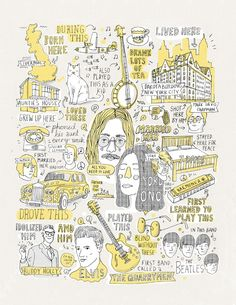 Love: Illustrator Captures The Lives Of Famous People Through Their Belongings: John Lennon - DesignTAXI.com