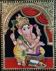 Ganesha Drawing, Ganesha Painting, Ganesha Art, Lord Ganesha, Mysore Painting, Tanjore Painting, Shiva Art, Hindu Art, Outline Drawings
