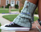 Hand knitted leg warmers/ boot cuffs cable knitted by YingsStudio
