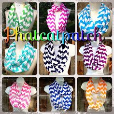 Chevron Scarf, Infinity Scarf, Black, Aqua, Gray, Blue, Red, Orange, Wide and Long, Cotton/Rayon Blend, Knit Jersey, Zig Zag, Cowlneck