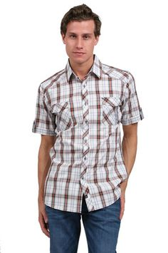 The Short Sleeve Plaid Shirt in Natural by 7 Diamonds from MFredric.com