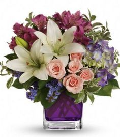 Garden Romance Bouquet - This stunning arrangement of purple hydrangea, light pink spray roses and white asiatic lilies is perfectly presented in our violet cube. Each arrangement is hand-created using the freshest flowers. Get Well Flowers, Flowers For You, Order Flowers, Fresh Flowers, Spring Flowers, Beautiful Flowers, City Flowers, Flowers Online, Birthday Flower Delivery