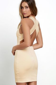 Think of all of the sweet memories you will make in the Will Always Love You Beige Bodycon Dress! Medium-weight stretch knit creates a sleek, sleeveless bodice with a V-neck, and wide straps that crisscross atop the open back (with a bit of elastic). Bodycon skirt.