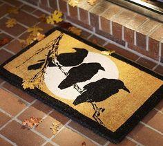 Outdoor Halloween Decorating Ideas | Halloween 2013 Crow & Moon Door Mat @ Pottery Barn