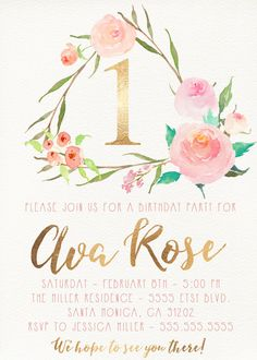 Celebrate your special event with this unique invitation! Pink and Gold First Birthday Invitation, Flower, Floral Birthday Party [123] I can